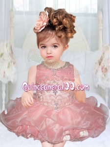 2014 Pretty Light Pink Scoop Mini-length Little Girl Dresses