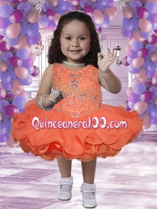2014 Pretty V-neck Short Little Girl Dresses with Beading