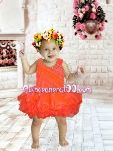 2014 Scoop Beading and Ruffles Backless Little Girl Dress with Short
