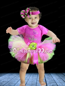 2014 Scoop Hand Made Flowers Mini-length Little Girl Dress in Multi-color