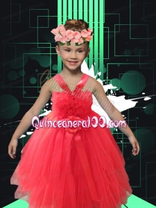 2014 Simple A-Line Straps Tea-length Little Girl Dress in Coral Red
