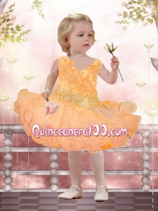 2015 Elegant A-Line Straps Little Girl Dresses with Appliques Beading Bowknot in Orange