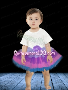 A-Line Multi-color 2014 Tulle Knee-length Little Girl Dress with Hand Made Flowers