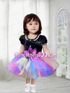 A-Line Multi-color 2014 Tulle Little Girl Dress with Tea-length