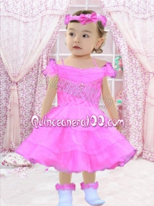 A-Line Off the Shoulder Beading and Ruffles 2014 Little Girl Dresses with Tea-length