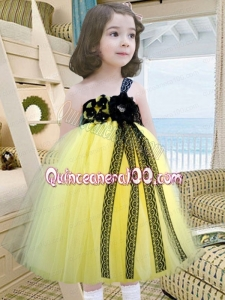 A-Line One Shoulder Yellow and Blue Tulle Hand Made Flowers Little Girl Dress for 2014