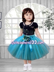 A-Line Popular 2014 Scoop Tulle Little Girl Dress with Hand Made Flowers