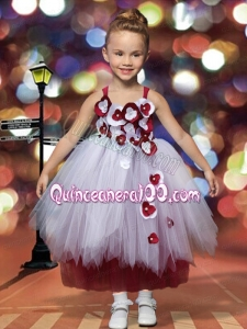 A-Line Tulle Straps Appliques Ankle-length Little Girl Dress for 2014