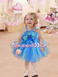 Baby Blue Straps Short Tea-length Little Girl Dresses with Hand Made Flowers