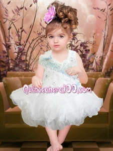 Beading and Ruffles Short Organza Backless Little Girl Dress in White