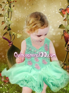 Cute Appliques and Ruffles Backless Organza Little Girl Dress for 2014