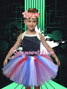 Cute Halter Ruffles Tulle Knee-length 2014 Little Girl Dress in Multi-color