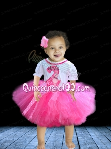 Cute Hand Made Flowers Knee-length Little Girl Dress in Rose Pink