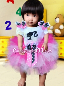 Cute Rose Pink Tulle Bowknot Little Girl Dress for 2014