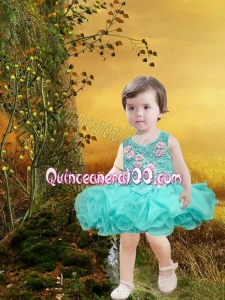 Elegant A-Line Scoop Little Girl Dresses with Appliques Bowknot in Green for 2014