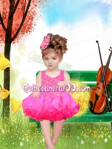 Elegant Hot Pink A-Line Straps Little Girl Dresses With Appliques Bowknot Beading for 2014