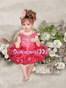 Elegant Red Ball Gown Mini-length Little Girl Dress in Red