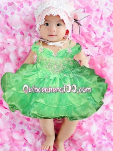 Fashionable Knee-length Spring Green Little Girl Dress with Bowknot