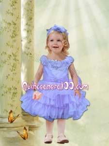 Lilac Knee-length Organza Little Girl Dress with Beading