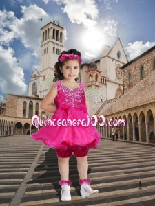 Luxurious A-Line V-neck Knee-length Little Girl Dress with Beading