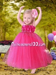 Modest Hot Pink Appliques A-Line Tulle Straps Little Girl Dress for 2014