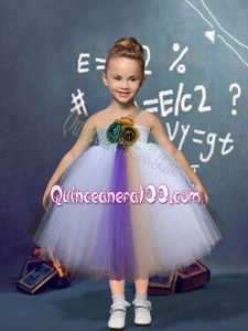 Multi-color A-Line Tulle One Shoulder Morden Hand Made Flowers Little Girl Dress for 2014