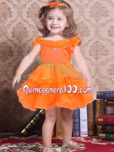 Popular Orange A-Line Off the Shoulder Little Girl Dress with Beading and Ruffles