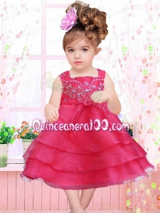 Red Ruffled Layers and Bowknot A-Line Square Tea-length Little Girl Dress for 2014