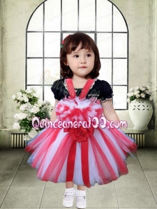 Red and White Tulle Straps A-Line Little Girl Dress with Hand Made Flowers