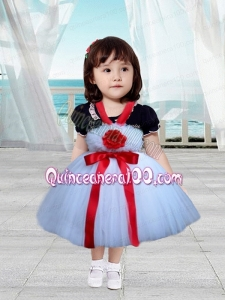 Red and White Tulle straps Little Girl Dress with Hand Made Flowers and Bowknot
