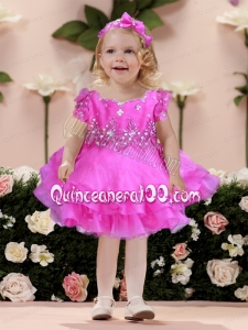 Short sleeves Fuchsia A-Line Modest Little Girl Dress with Beading and Ruffles
