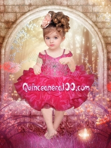 Simple Fuchsia Ball Gown Sleeveless Short Little Girl Dresses