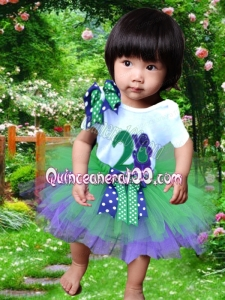 Simple Scoop Bowknot Knee-length 2014 Little Girl Dress in Green