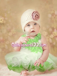 Spring Green Appliques and Ruffles Scoop 2014 Little Girl Dress with Backless