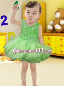Spring Green Backless Scoop 2014 Little Girl Dress with Beading and Ruffles