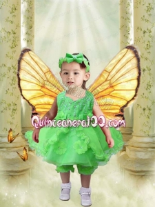 V-neck A-Line Luxurious Hand Made Flowers and Ruffles Spring Green Little Girl Dress