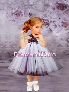 White A-Line Tulle One Shoulder White Hand Made Flowers Little Girl Dress for 2014