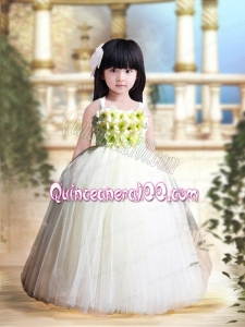 White A-Line Tulle Straps Floor-length Hand Made Flowers Little Girl Dress for 2014