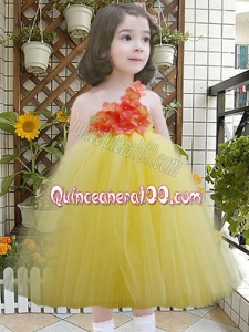 Yellow One Shoulder A-Line Tulle Appliques Little Girl Dress for 2014
