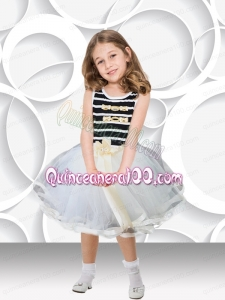2014 White and Black Short Scoop Little Girl Dress with Bowknot
