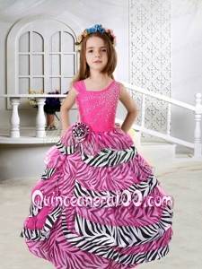 2014 Beautiful Hot Pink Asymmetrical Beading Zebra Little Girl Pageant Dresses with Ruffled Layers