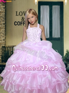 2014 Brand New Halter Lilac Little Girl Pageant Dress with Beading Ruffled Layers