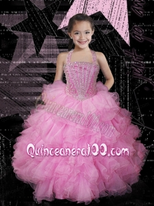 Cute Ball Gown Halter Pink Little Girl Pageant Dress with Beading