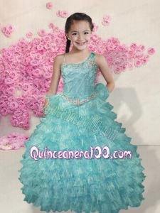 Light Blue Asymmetrical Beading 2014 Little Gril Pageant Dress