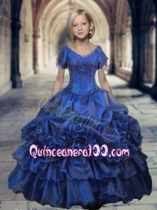 Luxurious Royal Blue V-neck Short Sleeves Beaded Decorate Little Girl Pageant Dress