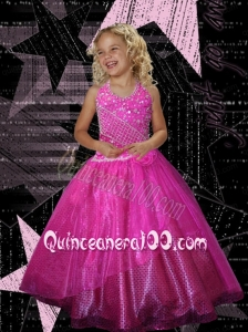 Pretty Ball Gown Hot pink Halter Little Gril Pageant Dress with Beading