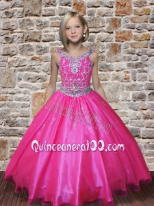 Pretty V-neck Hot Pink 2014 Little Gril Pageant Dresses with Beading