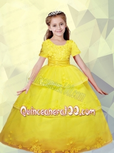 Yellow Scoop Ball Gown Appliques Little Girl Pageant Dress with Ruffled Layers for 2014