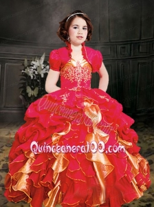 Red Straps Ball Gown 2014 Little Girl Pageant Dress with Ruffles with Appliques