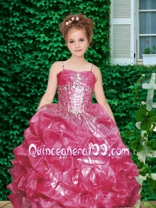 Wine Red Spaghetti Straps Ball Gown Little Girl Pageant Dress with Beading for 2014